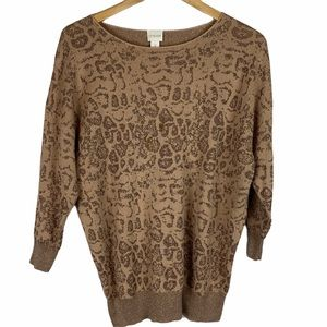 Chico's brown and copper print sweater